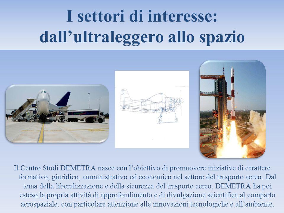 I settori di interesse: dallultraleggero allo spazio Il Centro Studi DEMETRA nasce con lobiettivo di promuovere iniziative di carattere formativo, giu