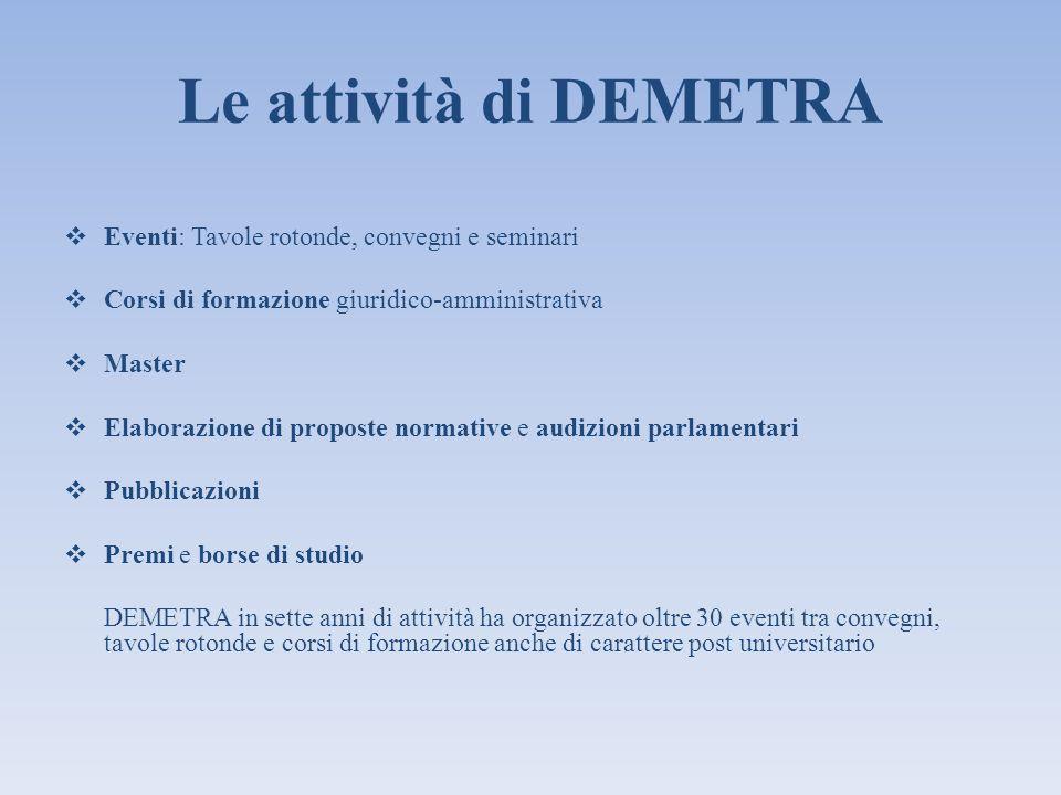 Le attività di DEMETRA Eventi: Tavole rotonde, convegni e seminari Corsi di formazione giuridico-amministrativa Master Elaborazione di proposte normat
