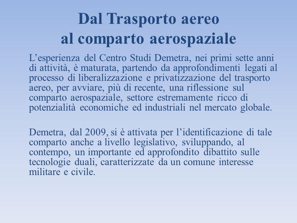 Dal Trasporto aereo al comparto aerospaziale Lesperienza del Centro Studi Demetra, nei primi sette anni di attività, è maturata, partendo da approfond