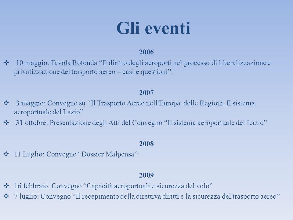 Gli eventi 2006 10 maggio: Tavola Rotonda Il diritto degli aeroporti nel processo di liberalizzazione e privatizzazione del trasporto aereo – casi e q