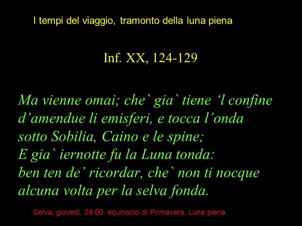 Ma vienne omai; che` gia` tiene l confine damendue li emisferi, e tocca londa sotto Sobilia, Caino e le spine; E gia` iernotte fu la Luna tonda: ben t
