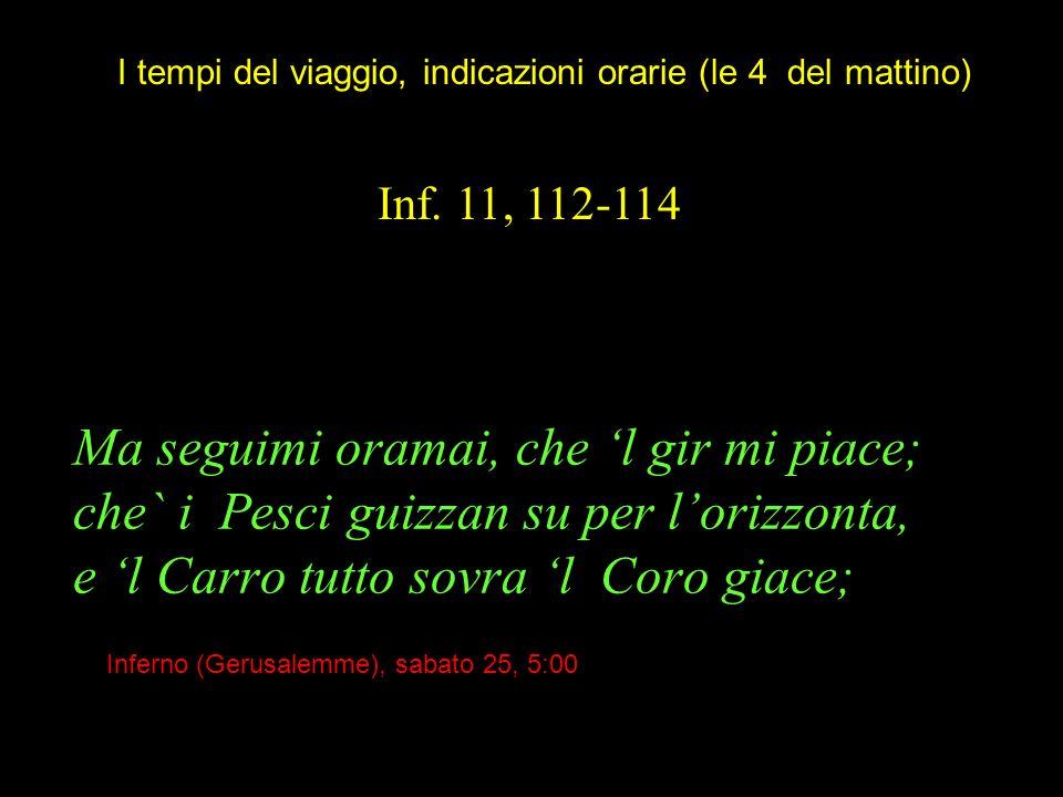 Ma seguimi oramai, che l gir mi piace; che` i Pesci guizzan su per lorizzonta, e l Carro tutto sovra l Coro giace; Inf. 11, 112-114 I tempi del viaggi