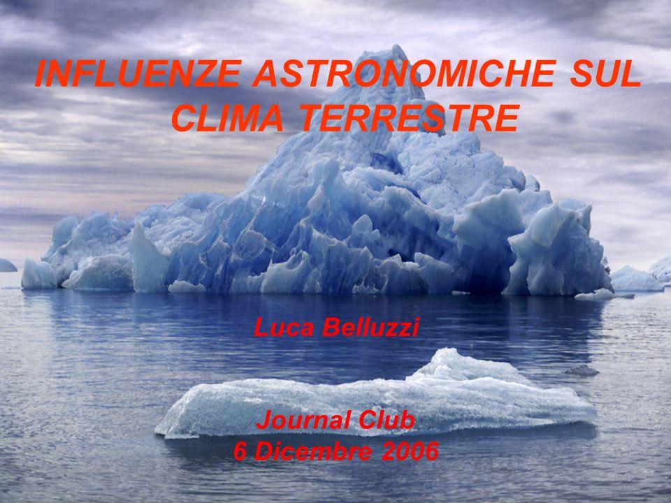 INFLUENZE ASTRONOMICHE SUL CLIMA TERRESTRE Journal Club 6 Dicembre 2006 Luca Belluzzi