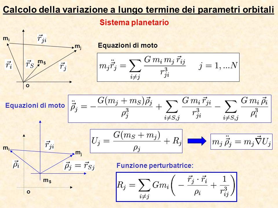 Calcolo della variazione a lungo termine dei parametri orbitali o mimi mSmS mjmj o mimi mSmS mjmj Funzione perturbatrice: Sistema planetario Equazioni di moto