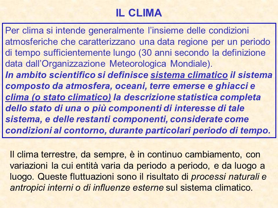 Per clima si intende generalmente linsieme delle condizioni atmosferiche che caratterizzano una data regione per un periodo di tempo sufficientemente lungo (30 anni secondo la definizione data dallOrganizzazione Meteorologica Mondiale).