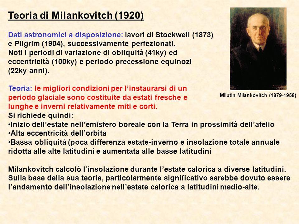 Teoria di Milankovitch (1920) Dati astronomici a disposizione: lavori di Stockwell (1873) e Pilgrim (1904), successivamente perfezionati. Noti i perio
