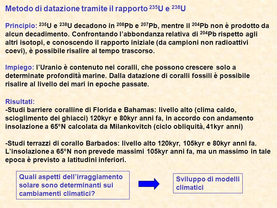 Metodo di datazione tramite il rapporto 235 U e 238 U Principio: 235 U e 238 U decadono in 208 Pb e 207 Pb, mentre il 204 Pb non è prodotto da alcun d