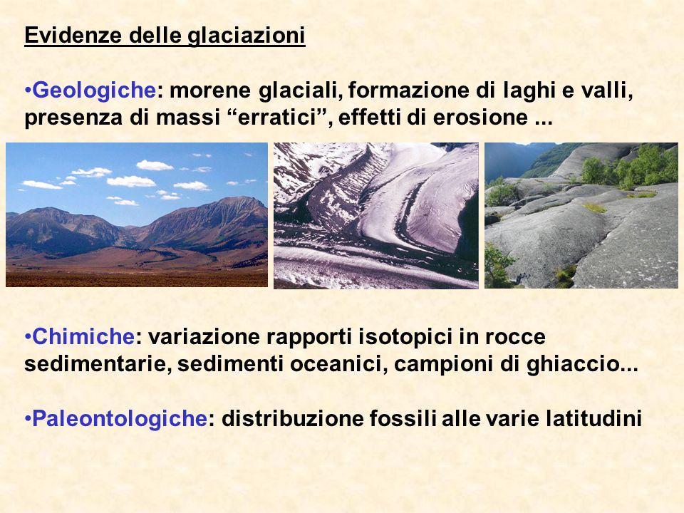 Evidenze delle glaciazioni Geologiche: morene glaciali, formazione di laghi e valli, presenza di massi erratici, effetti di erosione... Chimiche: vari