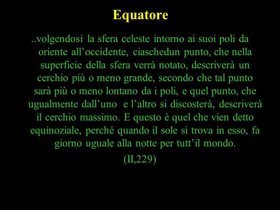10 Equatore..volgendosi la sfera celeste intorno ai suoi poli da oriente alloccidente, ciaschedun punto, che nella superficie della sfera verrà notato