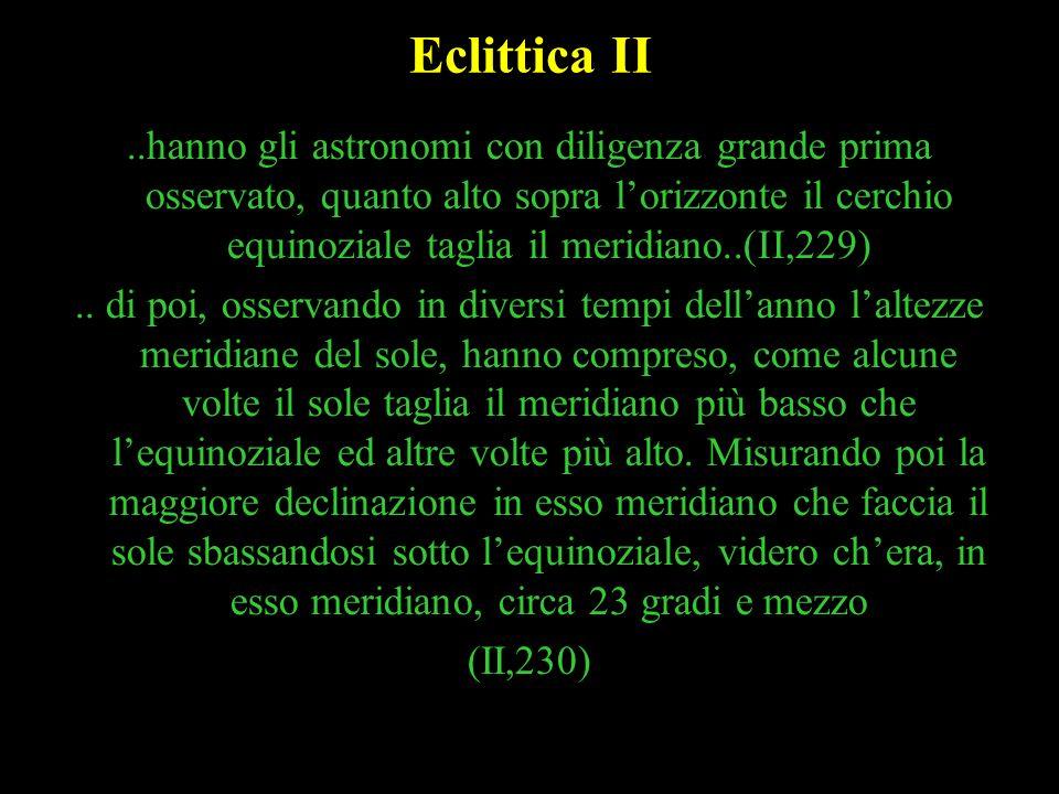 14 Eclittica II..hanno gli astronomi con diligenza grande prima osservato, quanto alto sopra lorizzonte il cerchio equinoziale taglia il meridiano..(I