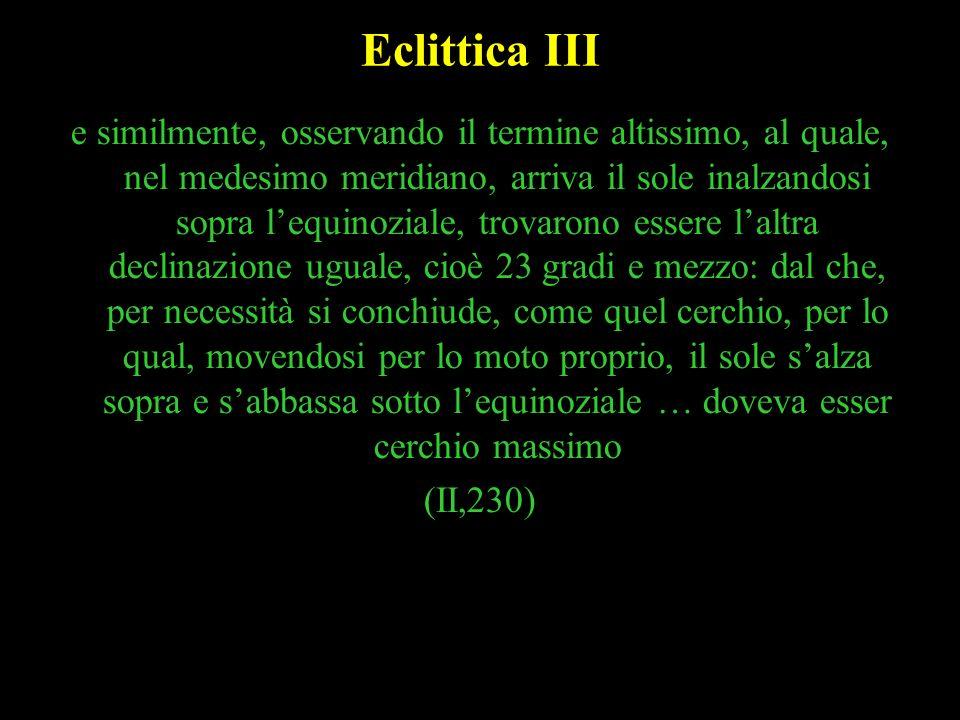 15 Eclittica III e similmente, osservando il termine altissimo, al quale, nel medesimo meridiano, arriva il sole inalzandosi sopra lequinoziale, trova