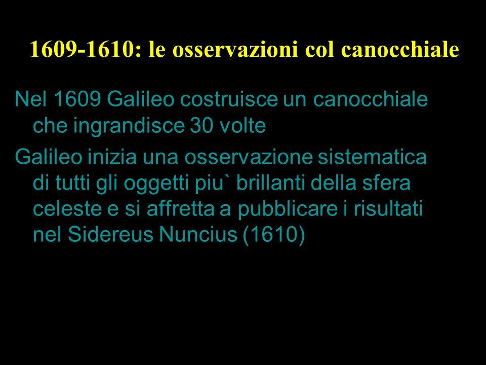 22 1609-1610: le osservazioni col canocchiale Nel 1609 Galileo costruisce un canocchiale che ingrandisce 30 volte Galileo inizia una osservazione sist