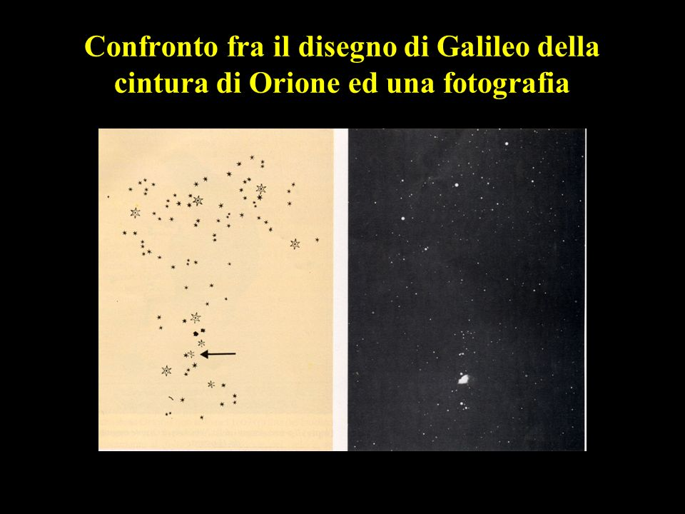 28 Confronto fra il disegno di Galileo della cintura di Orione ed una fotografia