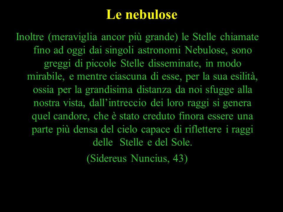 31 Le nebulose Inoltre (meraviglia ancor più grande) le Stelle chiamate fino ad oggi dai singoli astronomi Nebulose, sono greggi di piccole Stelle dis
