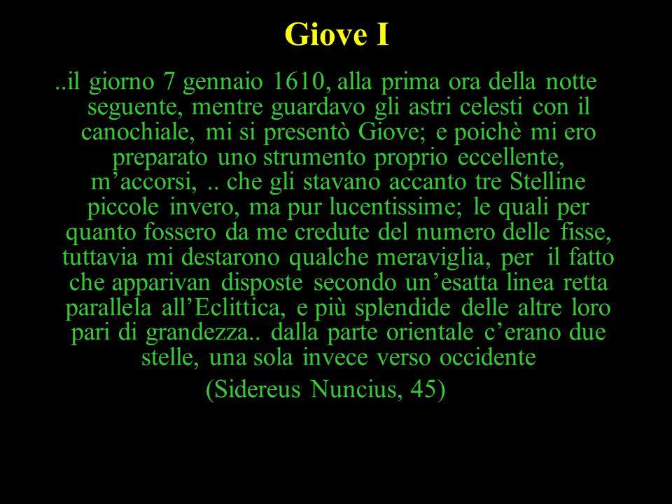 37 Giove I..il giorno 7 gennaio 1610, alla prima ora della notte seguente, mentre guardavo gli astri celesti con il canochiale, mi si presentò Giove;