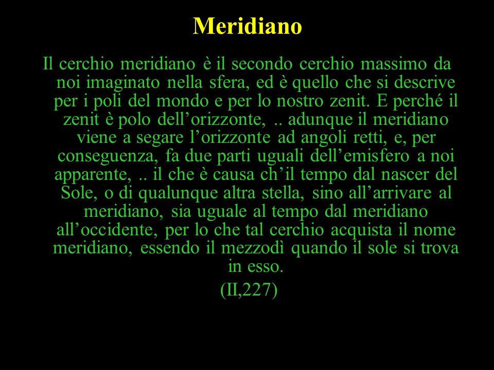 9 Meridiano Il cerchio meridiano è il secondo cerchio massimo da noi imaginato nella sfera, ed è quello che si descrive per i poli del mondo e per lo