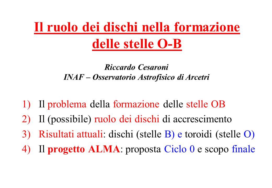 1)Il problema della formazione delle stelle OB 2)Il (possibile) ruolo dei dischi di accrescimento 3)Risultati attuali: dischi (stelle B) e toroidi (st