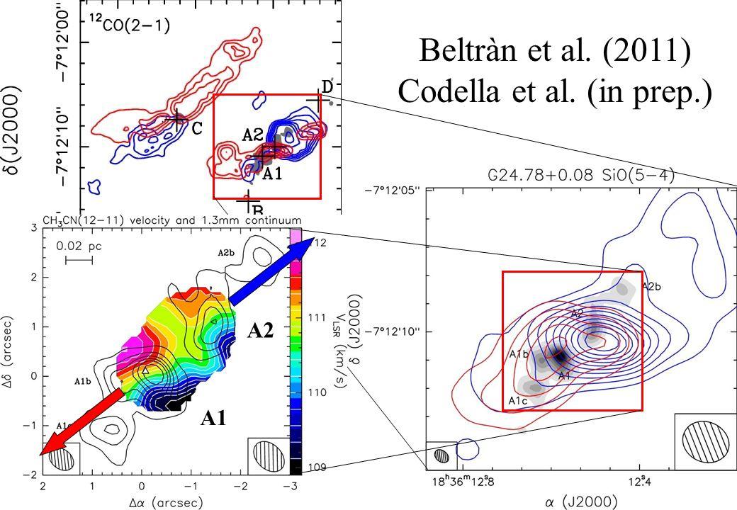 Beltràn et al. (2011) Codella et al. (in prep.) A2 A1