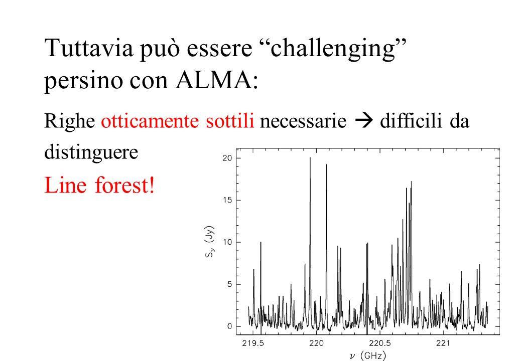 Righe otticamente sottili necessarie difficili da distinguere Line forest! Tuttavia può essere challenging persino con ALMA: