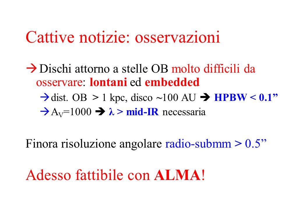 Risultati Stelle B (~ 10 4 L O ): evidenza di dischi di accrescimento circumstellari (Kepleriani) Stelle O (> 10 5 L O ): nessuna evidenza di dischi; solo toroidi rotanti (molto massicci)