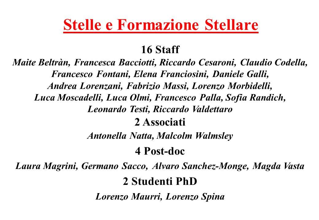 Stelle e Formazione Stellare 16 Staff Maite Beltràn, Francesca Bacciotti, Riccardo Cesaroni, Claudio Codella, Francesco Fontani, Elena Franciosini, Da