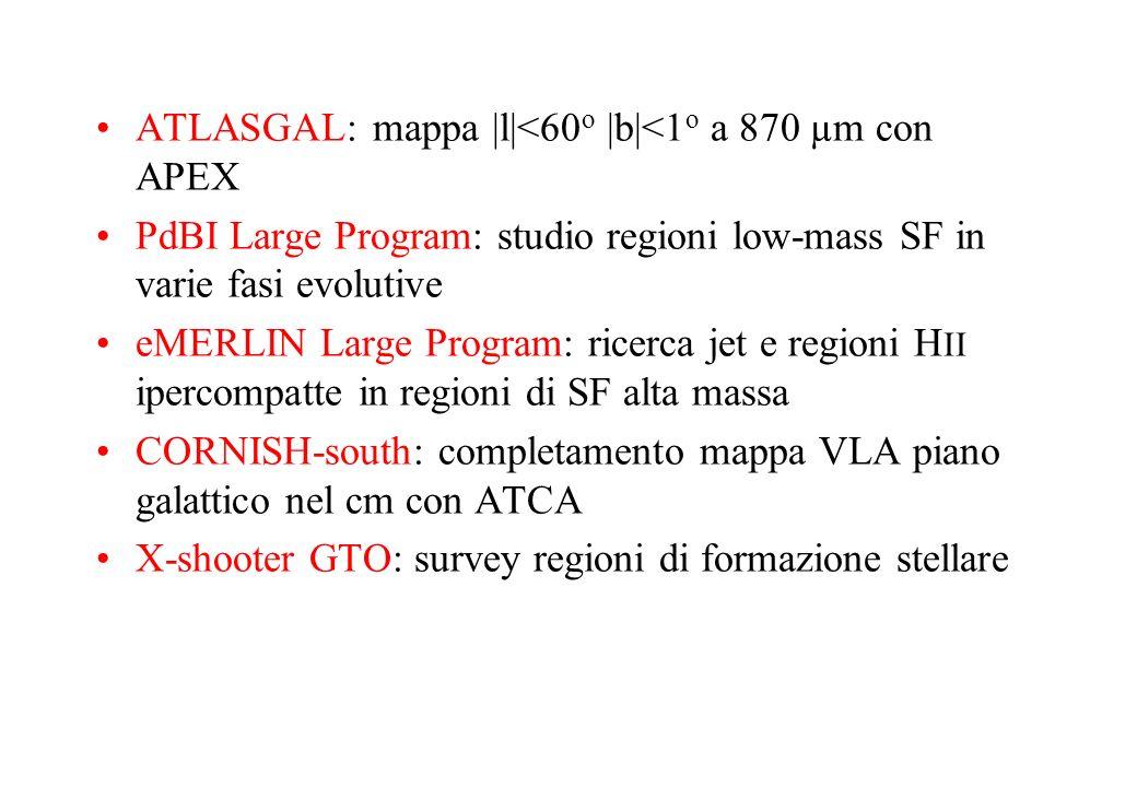ATLASGAL: mappa |l|<60 o |b|<1 o a 870 µm con APEX PdBI Large Program: studio regioni low-mass SF in varie fasi evolutive eMERLIN Large Program: ricer