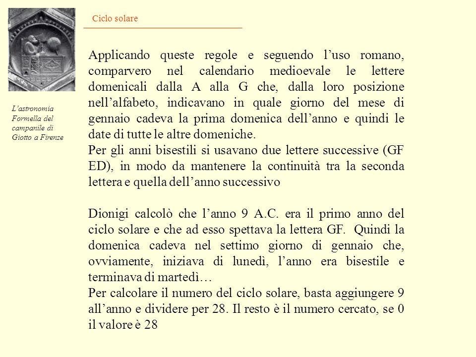 Ciclo solare Lastronomia Formella del campanile di Giotto a Firenze Per il calcolo della data della Pasqua serviva però ancora qualcosa: stabilire qua