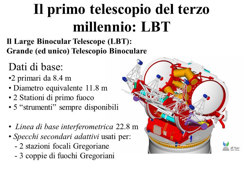Il Large Binocular Telescope (LBT): Grande (ed unico) Telescopio Binoculare Dati di base: 2 primari da 8.4 m Diametro equivalente 11.8 m 2 Stationi di