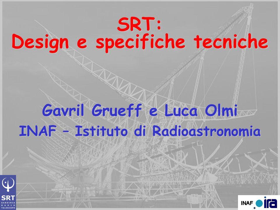 SRT: Design e specifiche tecniche Gavril Grueff e Luca Olmi INAF – Istituto di Radioastronomia