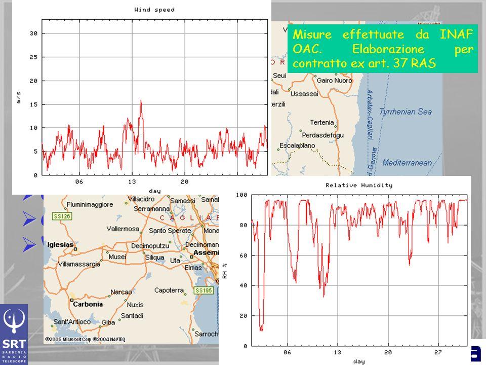 Sito di costruzione Basso livello di RFI Basso livello di RFI Bassa velocita del vento: 4 m/s Bassa velocita del vento: 4 m/s Consente uso nella banda