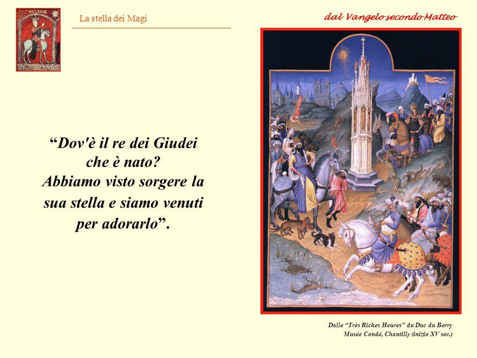 La stella dei Magi Dalle Très Riches Heures du Duc du Berry Musée Condé, Chantilly (inizio XV sec.) Dov'è il re dei Giudei che è nato? Abbiamo visto s