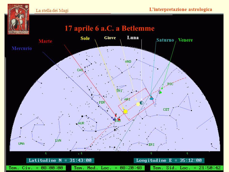 La stella dei Magi Linterpretazione astrologica 17 aprile 6 a.C. a Betlemme Giove SaturnoVenere Sole Marte Mercurio Luna
