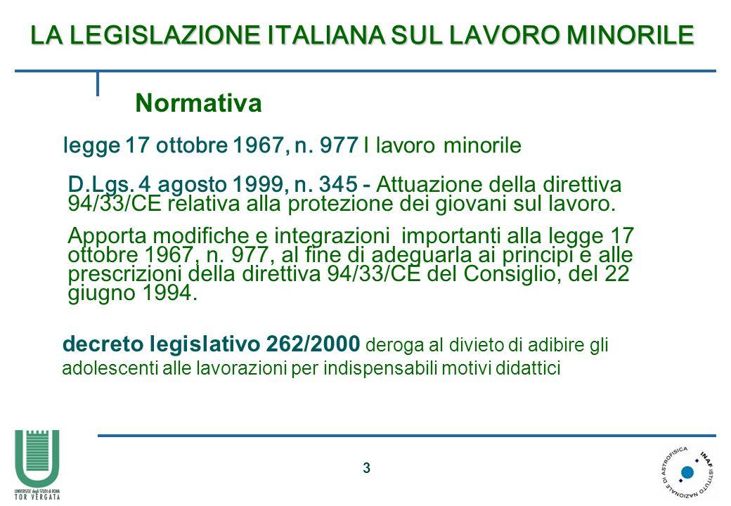 3 LA LEGISLAZIONE ITALIANA SUL LAVORO MINORILE LA LEGISLAZIONE ITALIANA SUL LAVORO MINORILE legge 17 ottobre 1967, n. 977 I lavoro minorile D.Lgs. 4 a