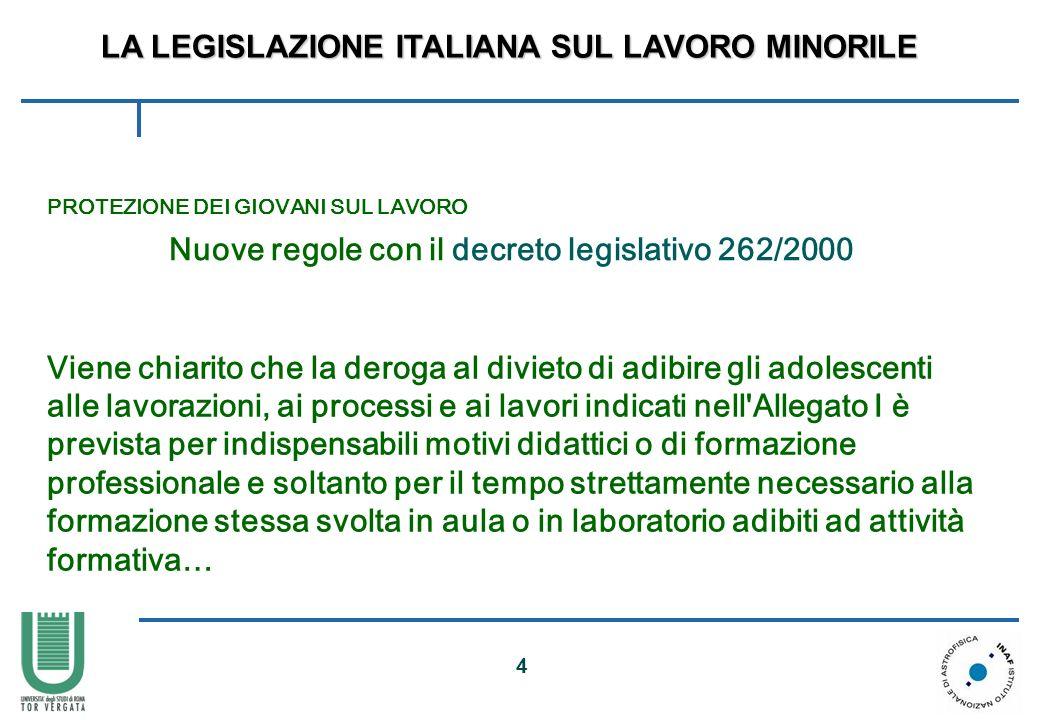 4 PROTEZIONE DEI GIOVANI SUL LAVORO Nuove regole con il decreto legislativo 262/2000 Viene chiarito che la deroga al divieto di adibire gli adolescent