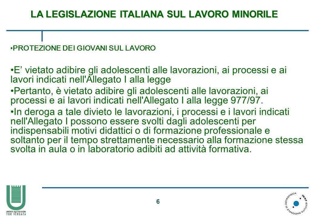 7 Lavori vietati ai minori di 18 anni (Allegato I legge 977/67 modificato dal DLgs 345/99 e dal DLgs 262/2000) I.