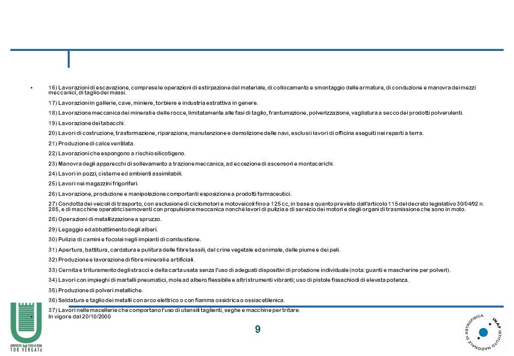 10 LA LEGISLAZIONE ITALIANA SUL LAVORO MINORILE PROTEZIONE DEI GIOVANI SUL LAVORO L attività formativa che avviene in ambienti di lavoro di diretta pertinenza del datore di lavoro dell apprendista dovrà essere svolta sotto la sorveglianza di formatori competenti anche in materia di prevenzione e di protezione e nel rispetto di tutte le condizioni di sicurezza e di salute previste dalla vigente legislazione.