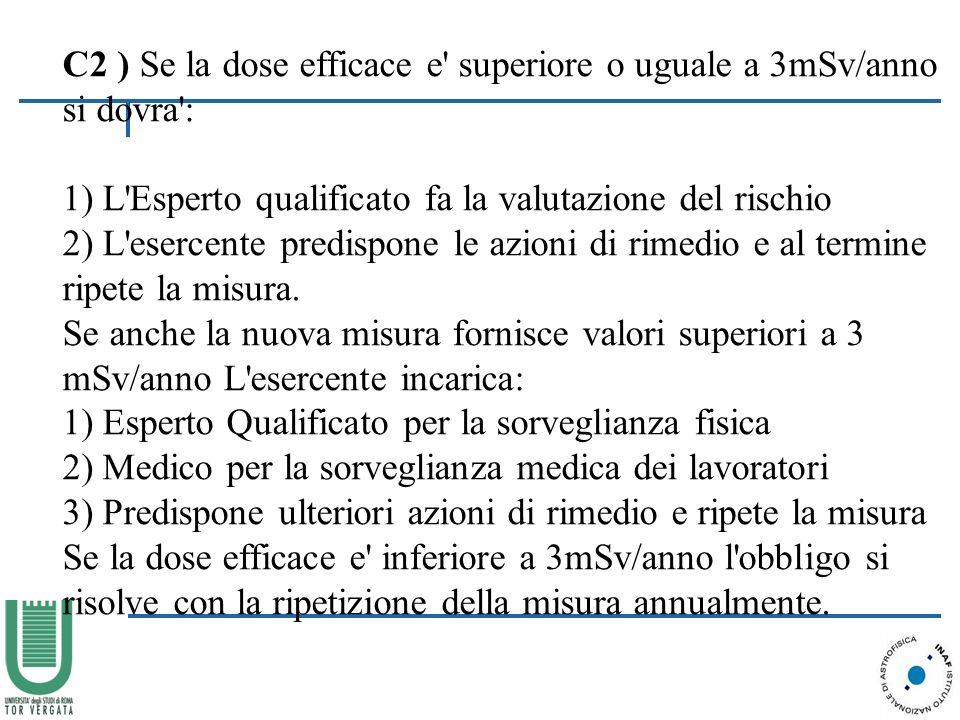 C2 ) Se la dose efficace e superiore o uguale a 3mSv/anno si dovra : 1) L Esperto qualificato fa la valutazione del rischio 2) L esercente predispone le azioni di rimedio e al termine ripete la misura.