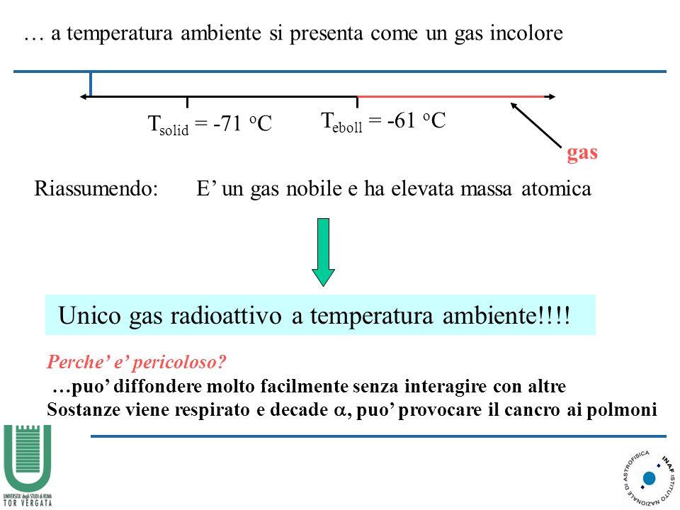 … a temperatura ambiente si presenta come un gas incolore T solid = -71 o C T eboll = -61 o C gas Riassumendo: E un gas nobile e ha elevata massa atomica Unico gas radioattivo a temperatura ambiente!!!.
