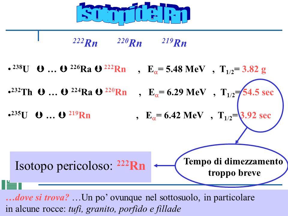 222 Rn 220 Rn 219 Rn 238 U … 226 Ra 222 Rn, E = 5.48 MeV, T 1/2 = 3.82 g 232 Th … 224 Ra 220 Rn, E = 6.29 MeV, T 1/2 = 54.5 sec 235 U … 219 Rn, E = 6.42 MeV, T 1/2 = 3.92 sec Isotopo pericoloso: 222 Rn Tempo di dimezzamento troppo breve …dove si trova.