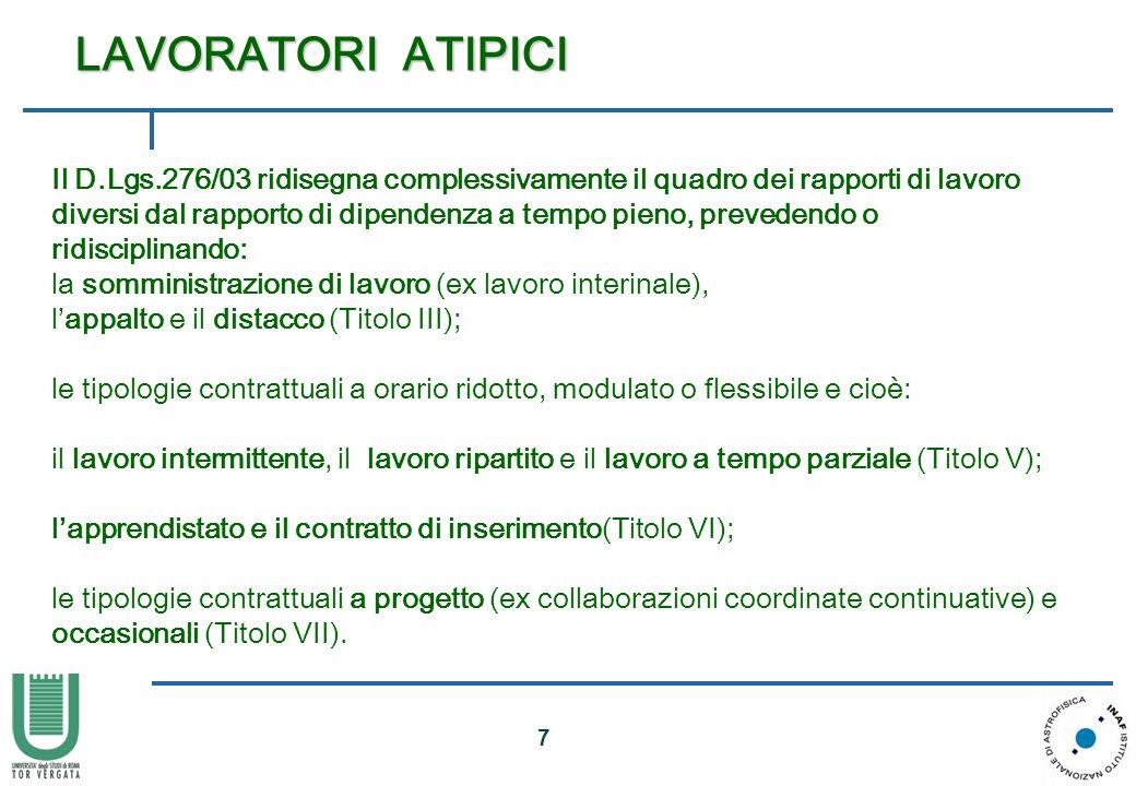 7 Il D.Lgs.276/03 ridisegna complessivamente il quadro dei rapporti di lavoro diversi dal rapporto di dipendenza a tempo pieno, prevedendo o ridiscipl