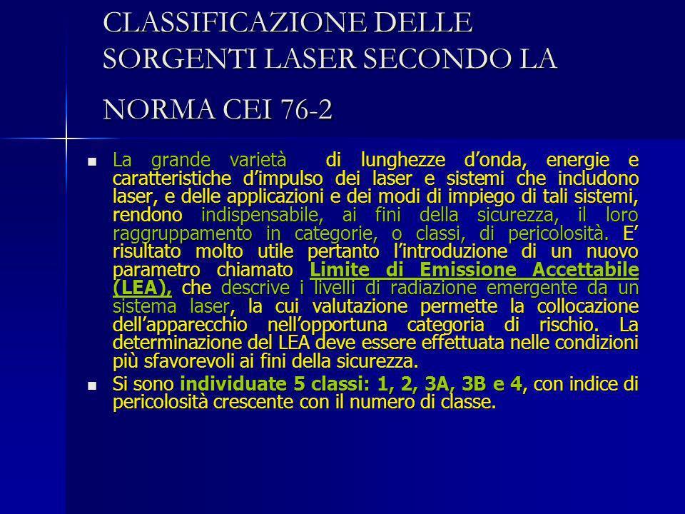CLASSIFICAZIONE DELLE SORGENTI LASER SECONDO LA NORMA CEI 76-2 La grande varietà di lunghezze donda, energie e caratteristiche dimpulso dei laser e si