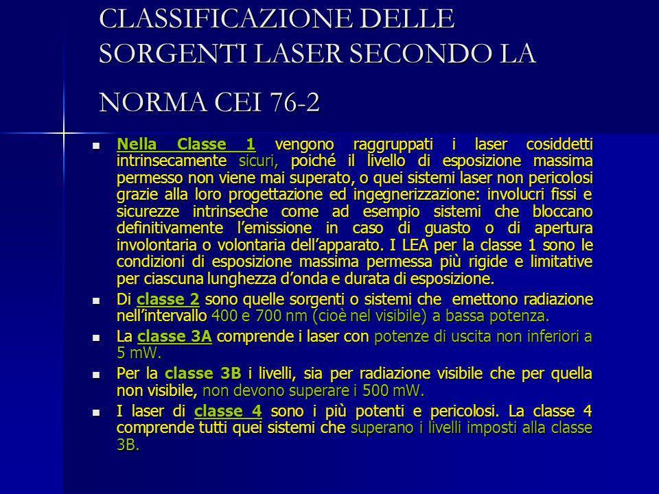 CLASSIFICAZIONE DELLE SORGENTI LASER SECONDO LA NORMA CEI 76-2 Nella Classe 1 vengono raggruppati i laser cosiddetti intrinsecamente sicuri, poiché il