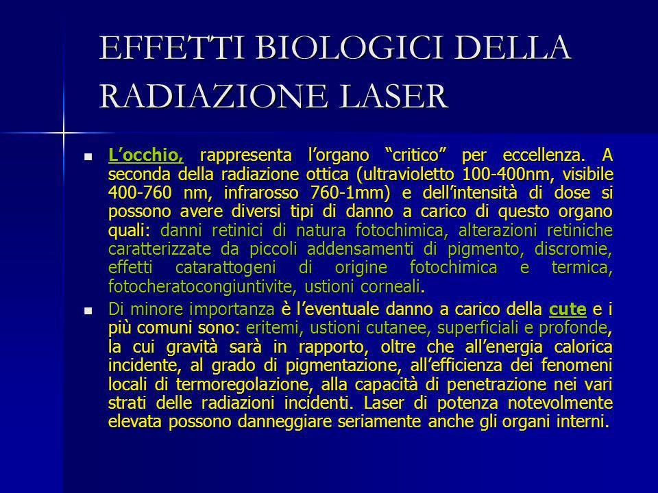 EFFETTI BIOLOGICI DELLA RADIAZIONE LASER Locchio, rappresenta lorgano critico per eccellenza. A seconda della radiazione ottica (ultravioletto 100-400