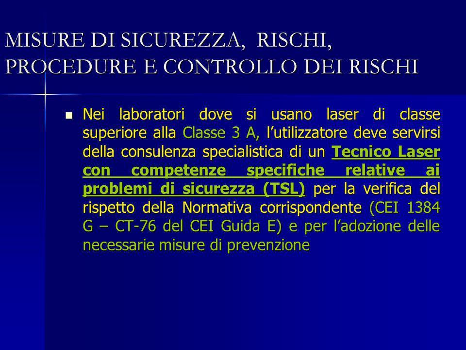 MISURE DI SICUREZZA, RISCHI, PROCEDURE E CONTROLLO DEI RISCHI Nei laboratori dove si usano laser di classe superiore alla Classe 3 A, lutilizzatore de