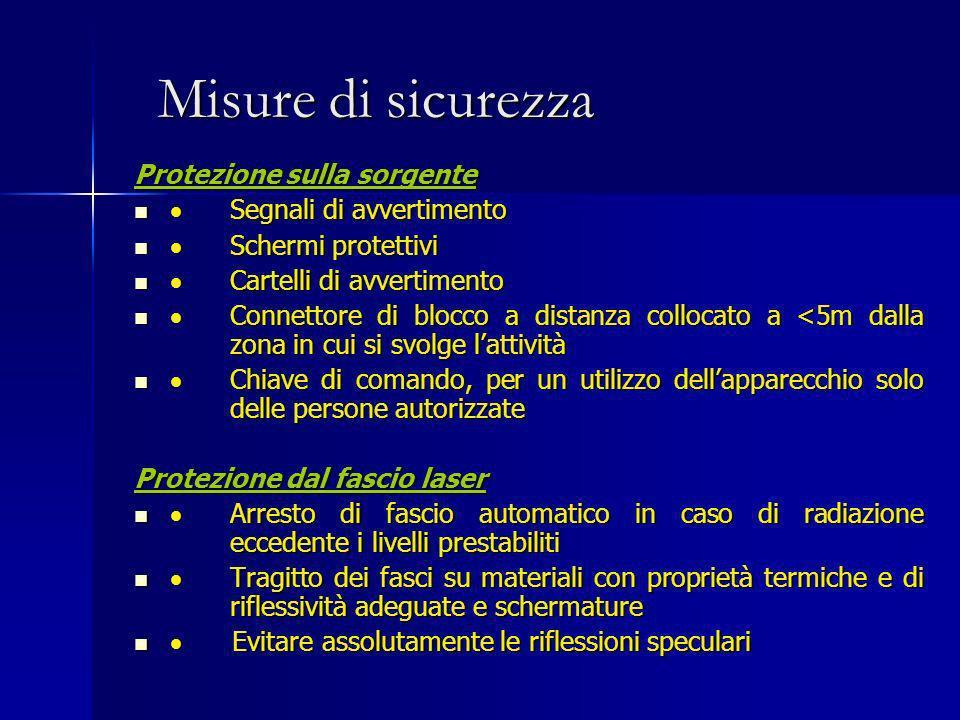 Misure di sicurezza Protezione sulla sorgente Segnali di avvertimento Segnali di avvertimento Schermi protettivi Schermi protettivi Cartelli di avvert