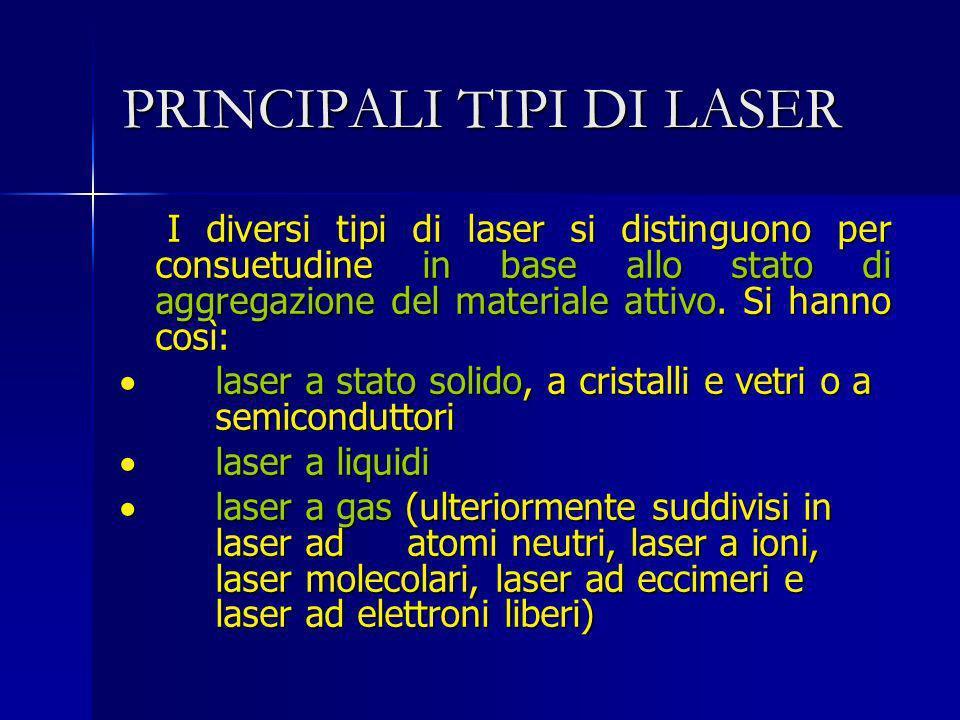 PRINCIPALI TIPI DI LASER I diversi tipi di laser si distinguono per consuetudine in base allo stato di aggregazione del materiale attivo. Si hanno cos
