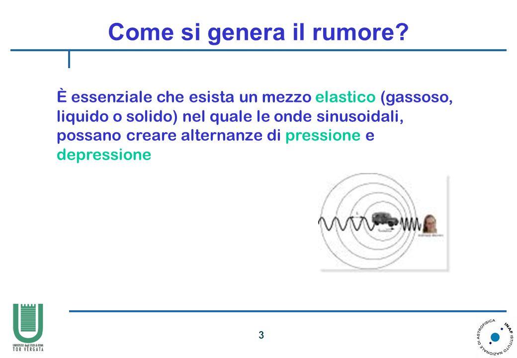 3 Come si genera il rumore? È essenziale che esista un mezzo elastico (gassoso, liquido o solido) nel quale le onde sinusoidali, possano creare altern