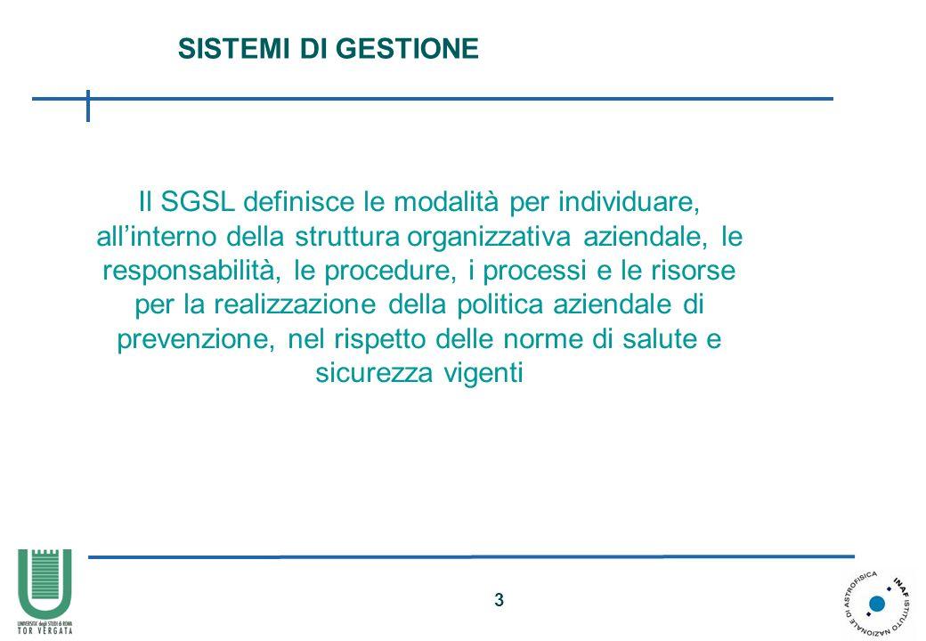 4 FINALITA Un SGSL è finalizzato a garantire il raggiungimento degli obiettivi di salute e sicurezza che limpresa/organizzazione si è data in una efficace prospettiva costi/benefici.