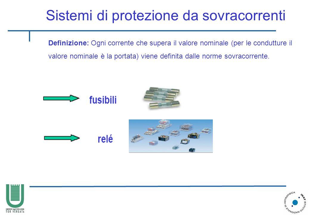 Sistemi di protezione da sovracorrenti Definizione: Ogni corrente che supera il valore nominale (per le condutture il valore nominale è la portata) vi