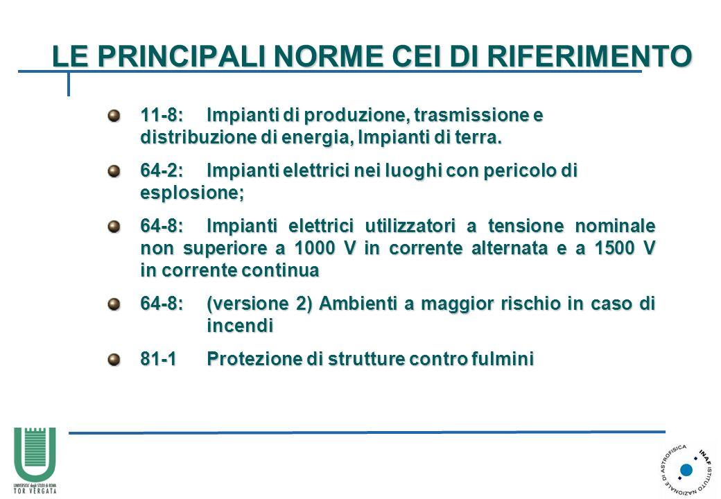 LE PRINCIPALI NORME CEI DI RIFERIMENTO 11-8:Impianti di produzione, trasmissione e distribuzione di energia, Impianti di terra. 11-8:Impianti di produ